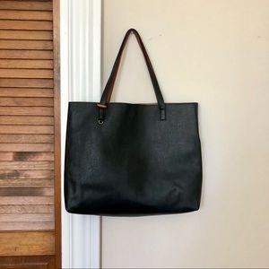 Handbags - Black Leather (faux) Tote Bag